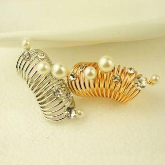 珍珠水钻多层螺旋新款戒指图片